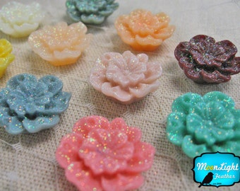 Flower Resin, 10 Pieces - MULTICOLOR GLITTER Flowers Cabochon Resin Set 20mm : 1078