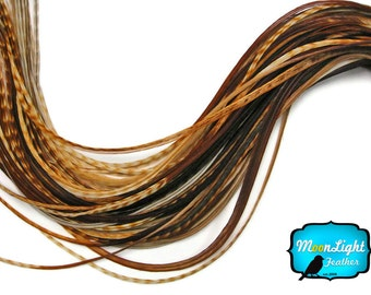 Hair Feathers, 6 Pieces - XL UNIQUE GINGER Thin Grizzly Rooster Hair Extension Feathers : 217