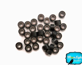 10 Pieces - DARK BROWN Silicone Micro Ring Beads for Feather Hair Extensions: 783