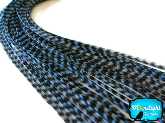 Blue Feathers, 10 Pieces - LIGHT BLUE Thin Long Grizzly Rooster Hair Extension Feathers : 1104