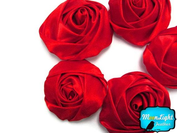 5 pcs - LARGE RED Satin Flower Rosette Rolled Fabric Flower : 1130