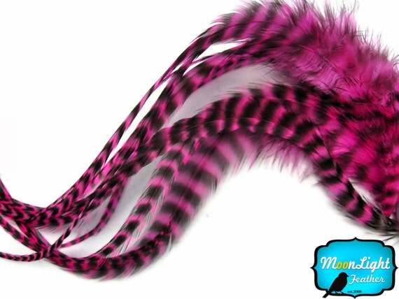 Pink Hair Feathers, 6 Pieces - HOT PINK Thick Long Grizzly Rooster Hair Extension Feathers : 475