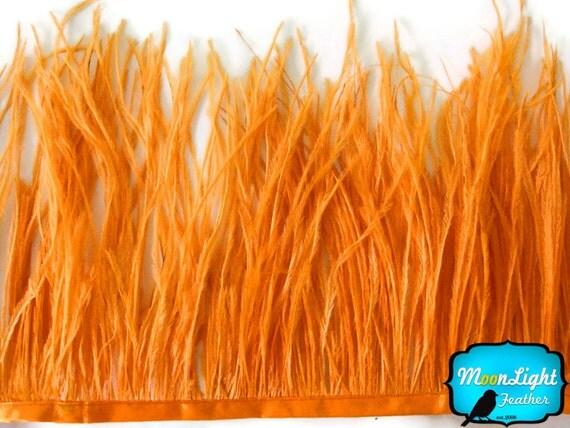Ostrich Fringe Feathers, 6 Inch Strip - ORANGE Ostrich Feather Fringe Trim : 1238