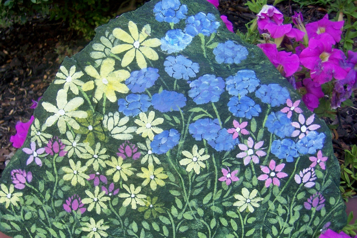 HAND-PAINTED FLOWERS ROCK Raccoon Painting