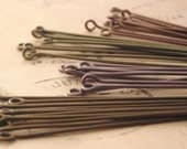 32 Vintage and Antique Enameled Copper Eye Pins 2 inches  20 gauge