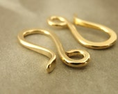 Hand Forged Solid Brass Hook Clasp with Jump Ring - 17 mm X 7mm