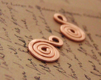 2 Small 12mm X 18mm Hand Forged Copper Swirls Perfect For Charms, Pendants and Embellishments