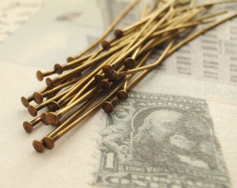 100 Antique Gold Plated Flat Head Pins - You Pick Gauge and Length - Economical Vintage Look - 100% Guarantee