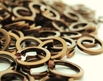 100 Handmade Vintage Bronze Square Wire Jump Rings 18 gauge 4.25mm ID - or YOU Pick Color