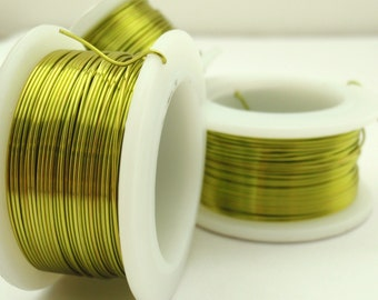 Peridot Green Wire - Non Tarnish Enameled Coated Copper - 100% Guarantee - YOU Pick the Gauge 18, 20, 22, 24, 26, 28, 30