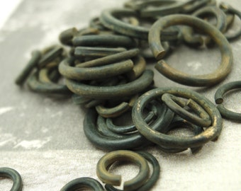 50 Handmade OXIDIZED Brass Jump Rings - Black Organic Finish - You Choose Gauge and Diameter