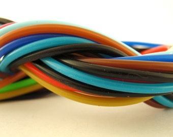 12 Rubber Cord Sampler - Assorted Colors, 2.2mm tubes -18 inches