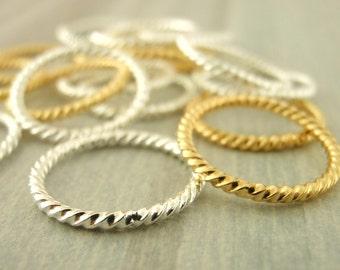 30 Fancy Silver and Gold Plated 18 Gauge Jump Rings 16mm OD Solid Soldered Round - Best Commercially Made - 100% Guarantee