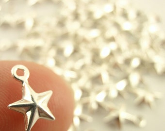 25 Silver Plated Star Drops - Traditional Five Point Style - Handmade Jump Rings Included - 100% Guarantee