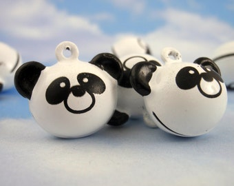 6 Plump Panda Bells 17mm - Black and White - Black Jump Rings Included