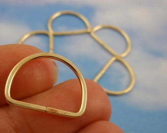 1 Custom Hand Made D Rings - Brass, Bronze or Copper 18mm X 14mm