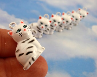 6 Cute Cat Bells 21mm X 18mm - White Tabbys - Matching Jump Rings Incuded