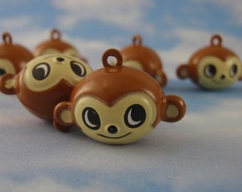 6 Mischievous Monkey Bells 24mm X 14mm - Big Ears and Big Smiles - Jump Rings Included