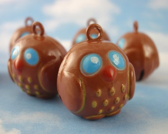 6 Whimsical Wise Old Owl Bells 17mm - Milk Chocolate Tone - Jump Rings Included