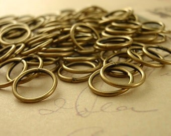 100 Antique Gold Soldered Closed Jump Rings 18 gauge 6mm, 8mm or 10mm OD 0r 20 gauge 4mm OD - 100% Guarantee