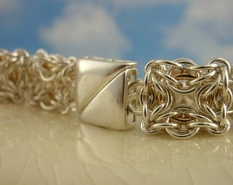 Heirloom Bracelet in Sterling Silver and 14kt Gold Filled Chainmaille - Celtic Labyrinth Kit or Ready Made