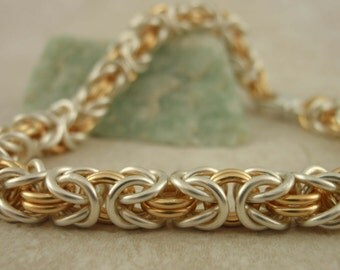 Byzantine Bracelet in Your Pick of Color Mixes - The Beauty of Chainmaille - Kit or Ready Made