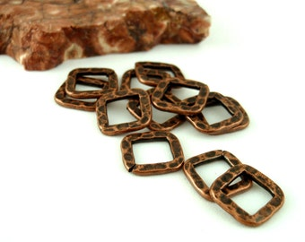 7 Hammered Square Components  - 10mm - 5 Finishes - 100% Guarantee
