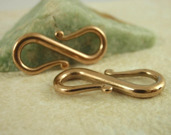 1 Large Bronze S Hook Clasps - 23mm - Made in the USA