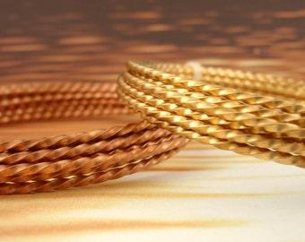 Twisted Square Wire - Brass, Copper, Bronze - 12, 14, 16, 18, 20, 21, 22 gauge -  100% Guarantee
