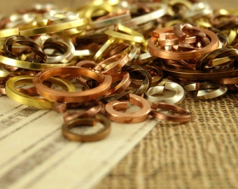 SALE Square and Twisted Metallics Sampler - 21 gauge and 18 gauge Jump Ring Mix - Quantity 50