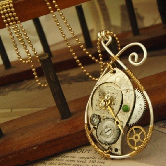 Steampunk Vintage Watch Part Necklace Kit - Intermediate Wire Wrapping  - Makes More Than One