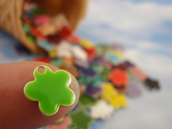 25 - 10mm Colorful Flower Drops - Handcrafted Jump Rings Included - 100% Guarantee