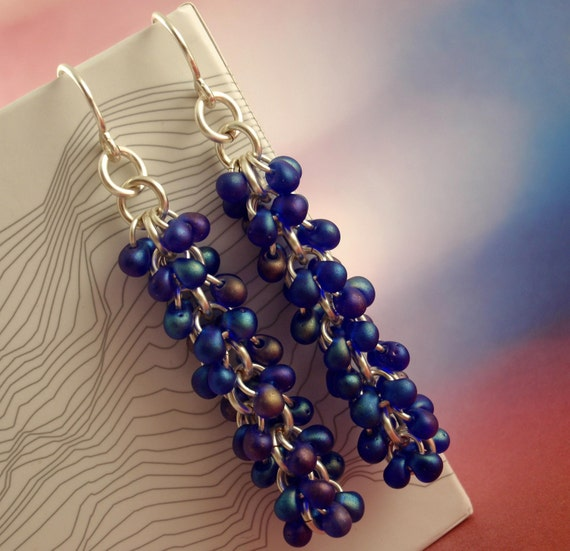 Half Price Summer Sale Shaggy Beaded Earring Kit - Matte Cobalt Blue and Silver - Beginners and Intermediate