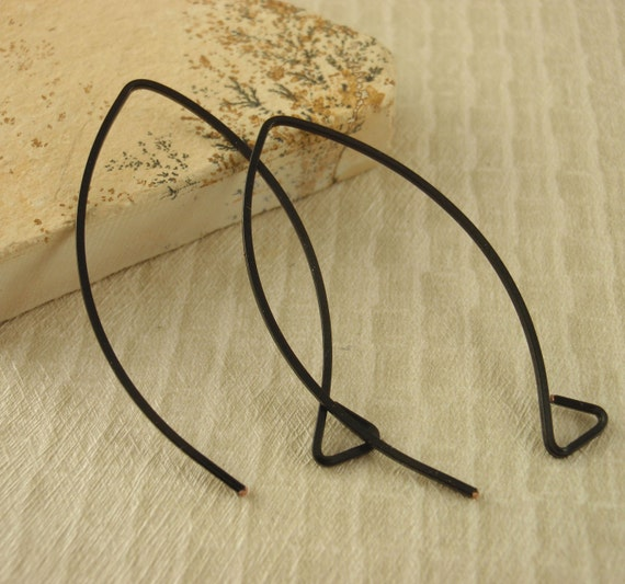 2 Pairs Black Ear Wires - Large Square Balloon Style - Triangle Loops - Hand Crafted