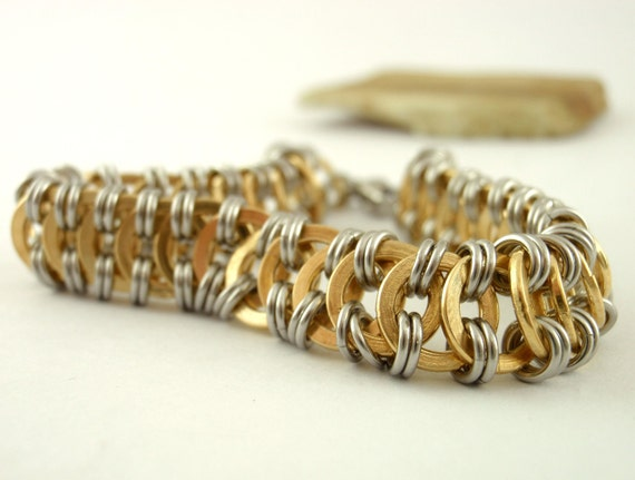 Millipede Chainmaille Bracelet Kit - Stainless Steel and Brass - Intermediate