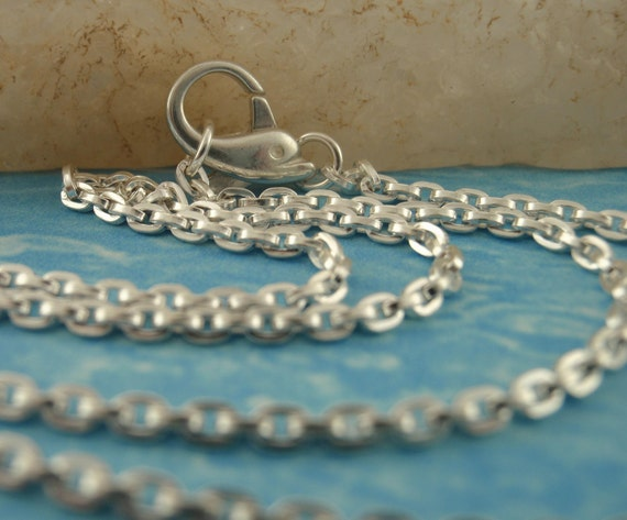 1 Sterling Silver Chain - 2.2mm Square Wire Cable with Dolphin Clasp - You Pick Length