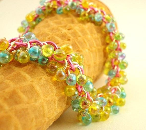 Shaggy EYE CANDY Beaded Bracelet Kit - Pink, Blue and Yellow - Colorful Pastel Chainmaille - Beginners or More Advanced