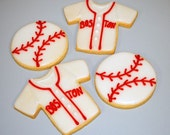 Baseball Shirt and Ball Hand Decorated Iced Sugar Cookies - 1 Dozen