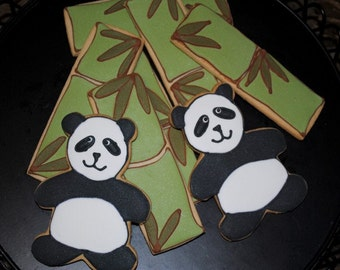 Panda Bear Hand Decorated Sugar Cookies - 1 Dozen