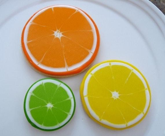 Citrus Hand Decorated Sugar Cookies - 1 Dozen