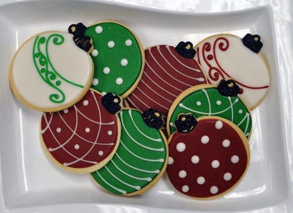 Items similar to Christmas Cookies Ornament Hand Decorated Sugar - 1 ...