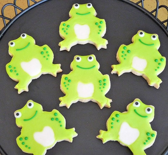 Green Frog Hand Decorated Sugar Cookies - 1 Dozen