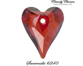 3 Swarovski 6240 Wild Heart Pendant RED MAGMA 12mm (B0047.12)