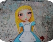 Curiouser and Curiouser Original Alice In Wonderland Mixed Media Artwork