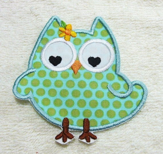 Fabric Embroidered Iron On or Sew On Applique Patch Owl