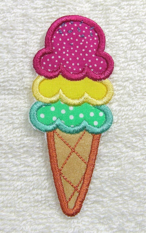 Ice Cream Cone Fabric Embroidered Iron On or Sew On Applique Patch