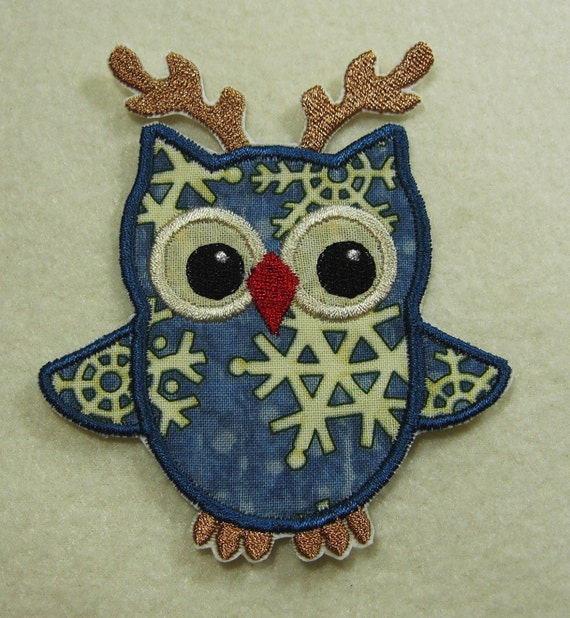 Owl in Reindeer Antlers Fabric Embroidered Iron On Applique Patch