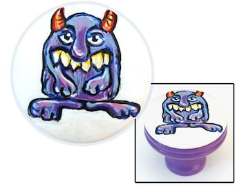 MONSTER KNOB Purple Toothy Monster with Horns Knob
