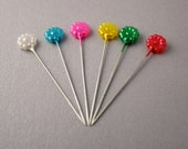 Flower Shaped Pins for Sewing Up, Marking and Blocking Knitting