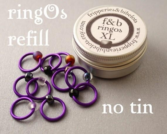 ringOs XL REFILL - Purple Velvet - Snag-Free Ring Stitch Markers for Knitting